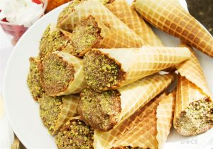 Close em cones trufados com casquinha de sorvete